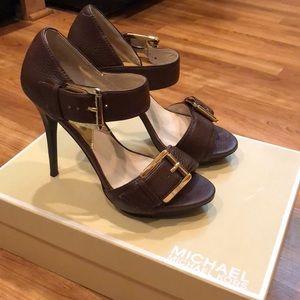Michael Kors brown leather stilettos